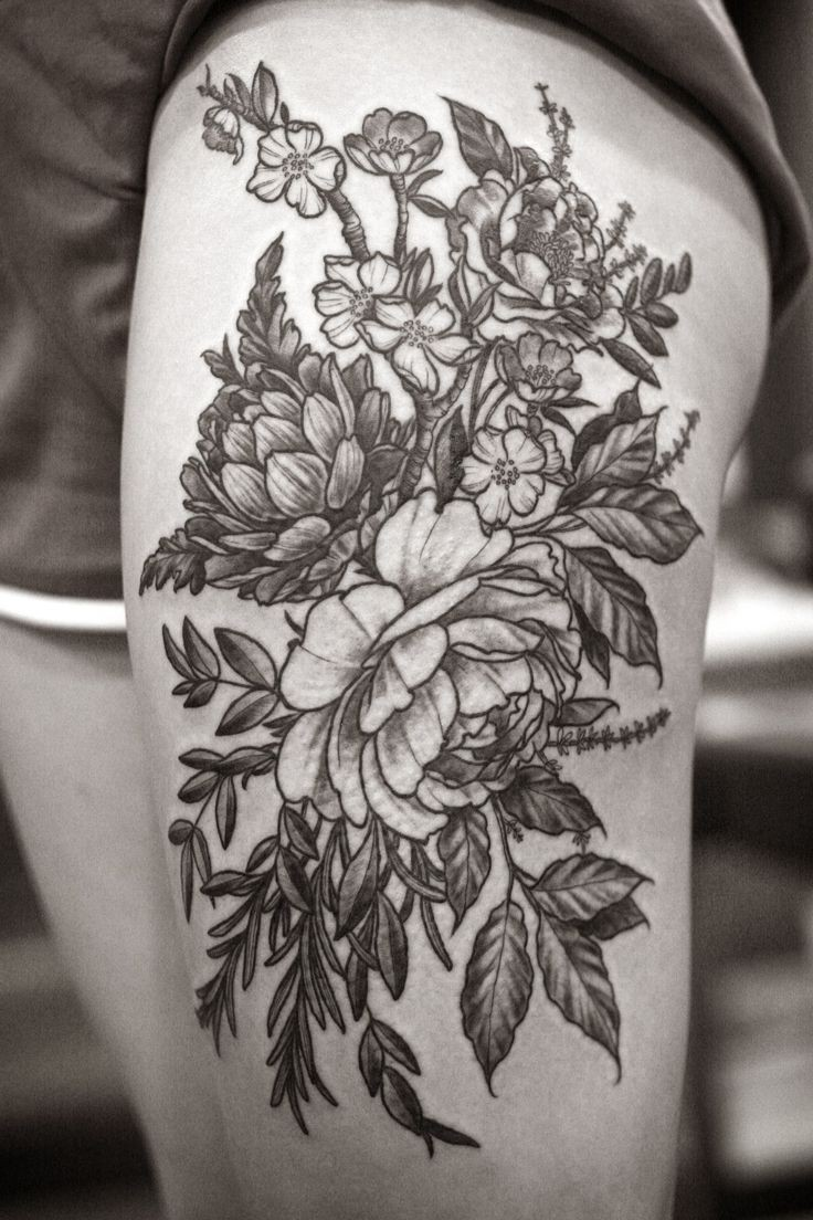 Coolest Black Floral And Flower Tattoo Design On Thigh