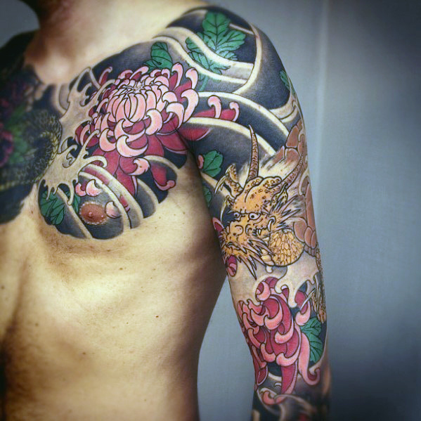 Coolest Half Sleeve Tattoo Of Flower And Dragon