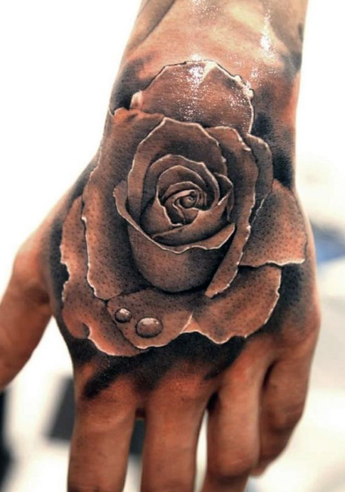 Fabulous Hand Tattoo Of Lovely 3d Rose Flower