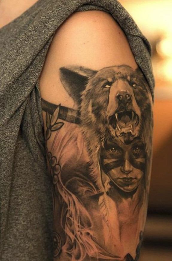 Fabulous Indian Native Women And Wolf Head Tattoo On Girl Soulder