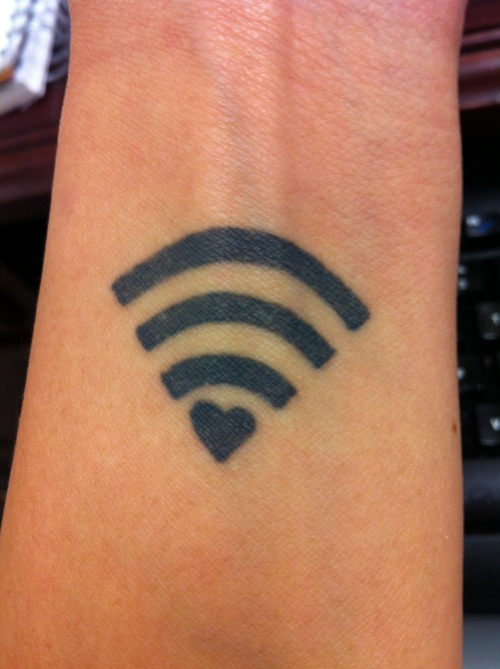 Famous Geek Wifi Love Tattoo On Girl Wrist