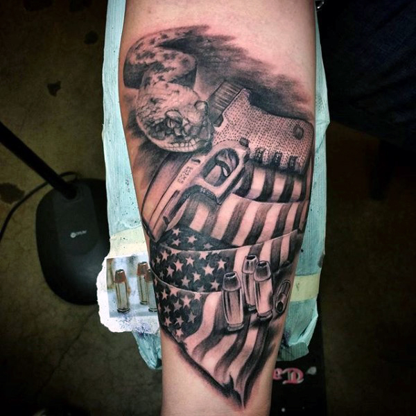 Fantastic American Flag And Gun Bullet Tattoo Arm Design