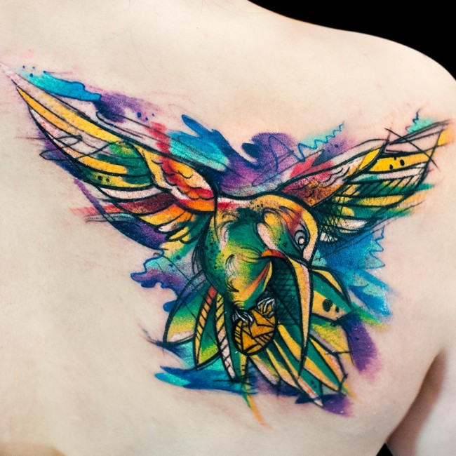Fantastic Watercolor Hummingbird  Tattoo For Girl Back Body