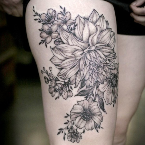 Gret Ink Perfect  Floral Tattoo For Girl Thigh