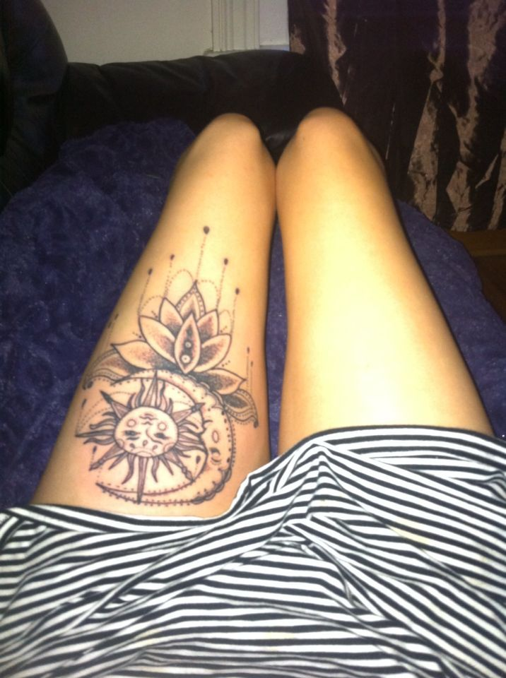 Grey Ink Amazing Hippie Tattoo On Girl Thigh