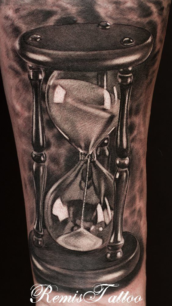 Grey Ink Best 3d Hour Glass Tattoo On Sleeve