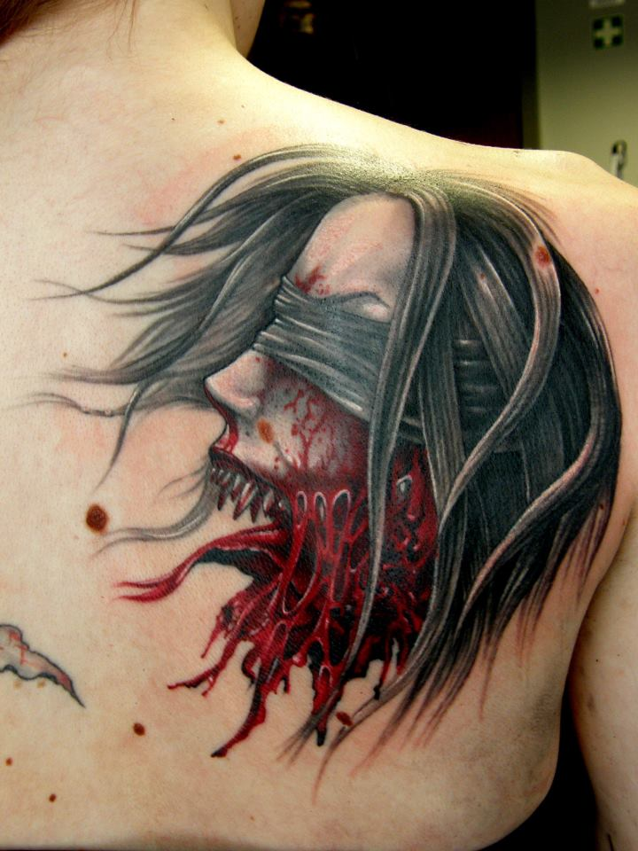 Grey Ink Cool 3d Horror Girl Face Tattoo On Back Body