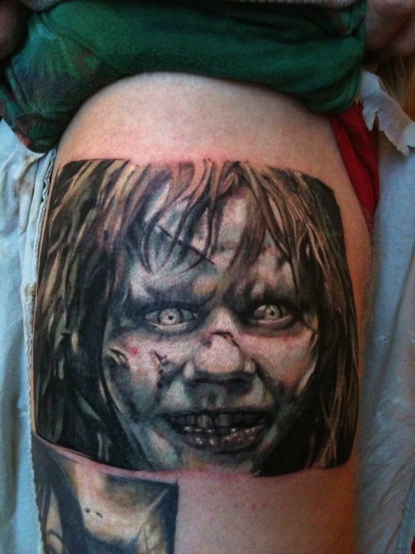 Grey Ink Horrible Girl Face Horror Tattoo Design