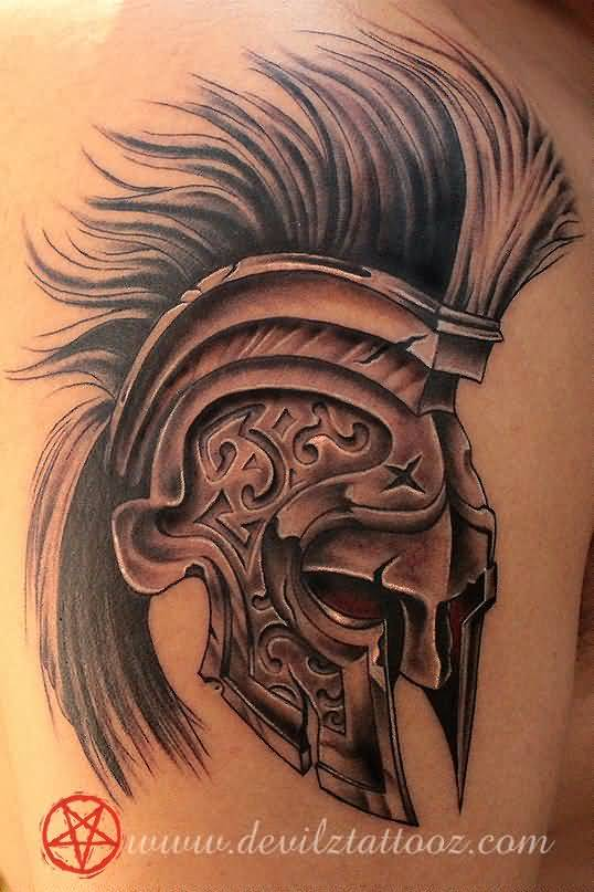 Grey Ink Traditional Helmet Tattoo For Men Shoulder