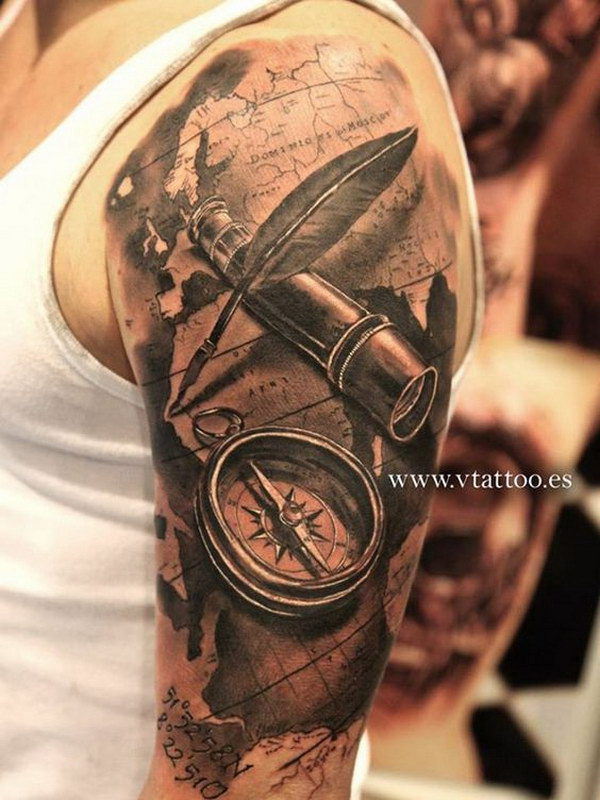 Grey Ink True 3d Compass And Map Tattoo On Men Half Sleeve