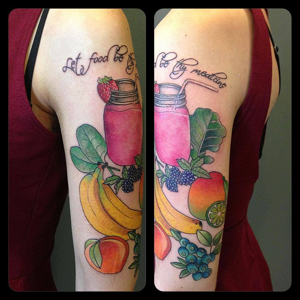 Healthy Fruits And Quote Tattoo On Girl Sleeve