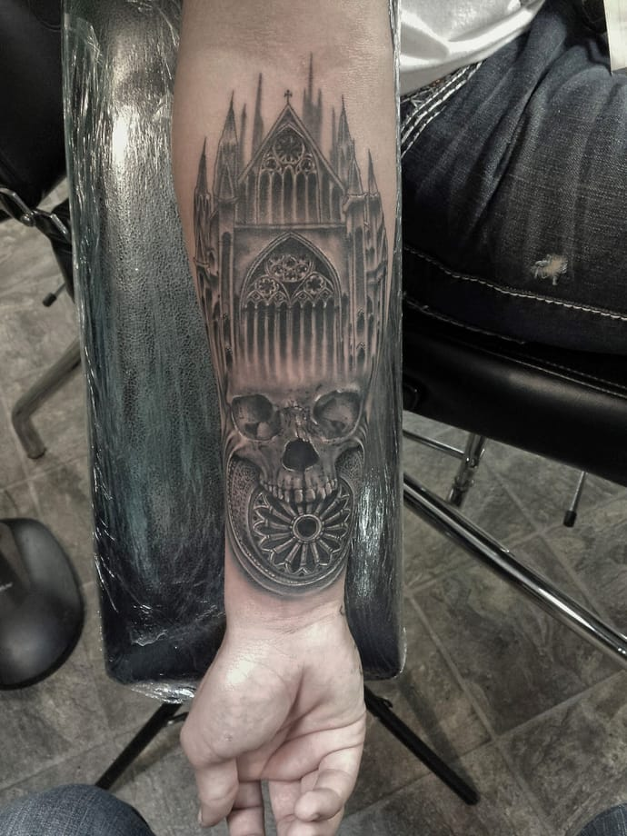 Horrible Gothic House And Skull Tattoo On Men Wrist