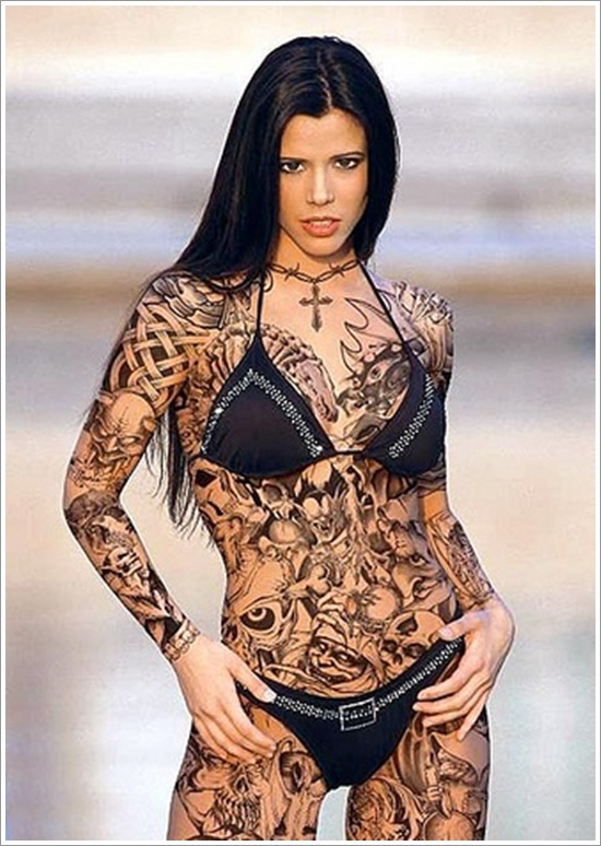 Lovely Tattoo Model With Full Body Tattoo Design