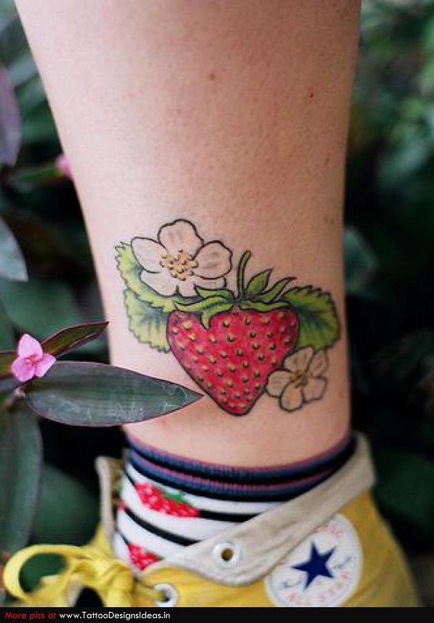 Lovely Yummy Stawberry Fruit Tattoo On Ankle