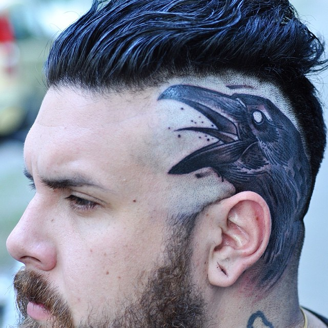 Men With Scary Balck Crow Tattoo Design
