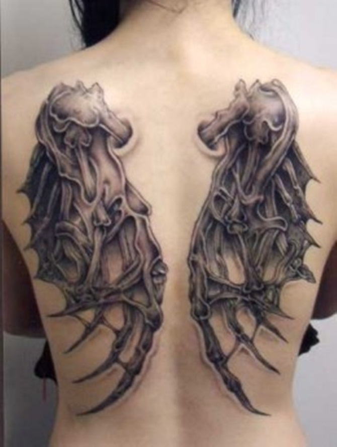 Mind Blowing 3D Gothic Devil Wins Tattoo For Girl Back Body