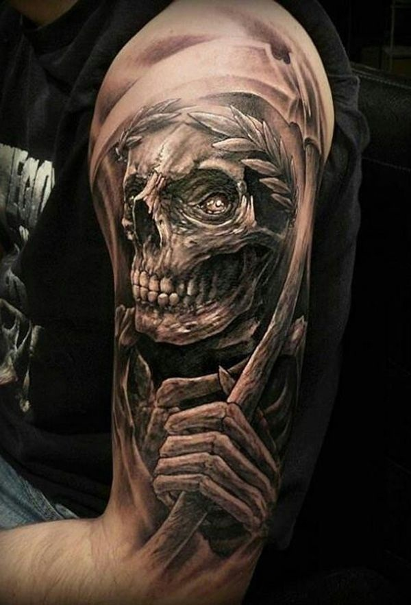 Mind Blowing 3D Grim Reaper Face Tattoo On Men Shoulder