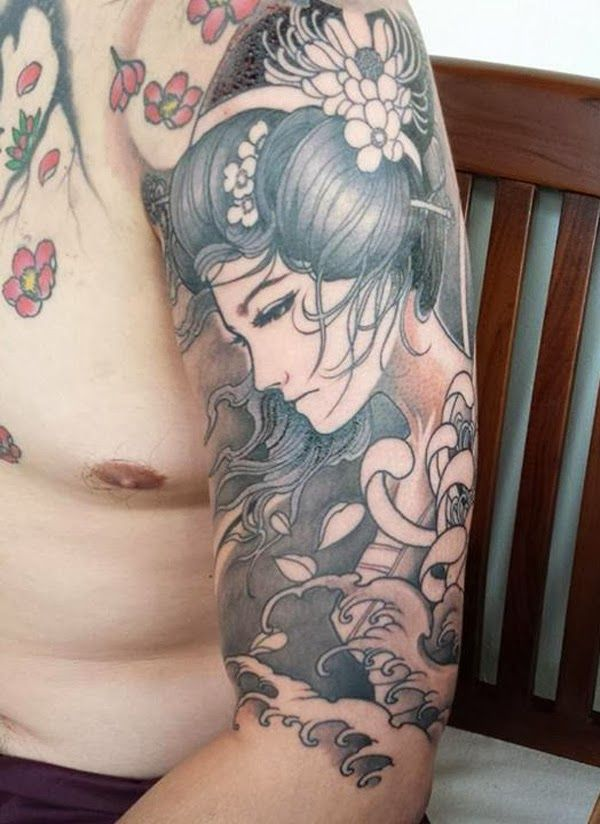 Mind Blowing Asian Geisha Tattoo On Men Half Sleeve