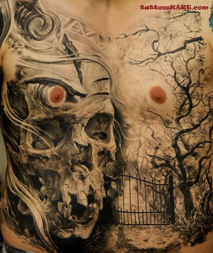 Mind Blowing Graveyard Tree Skull Tattoo On Men Front Body