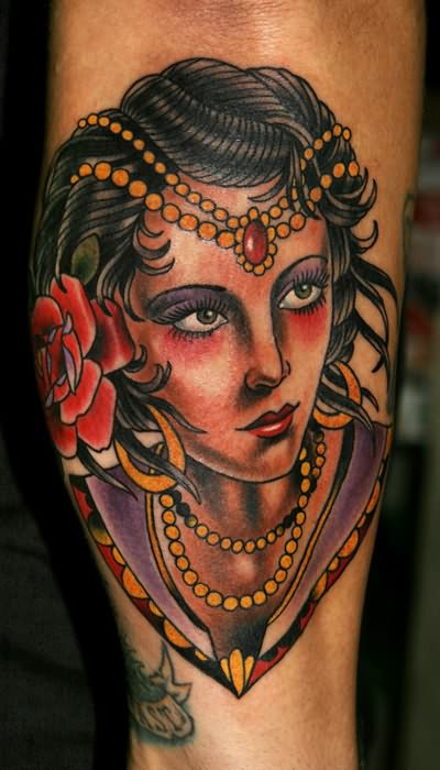 Mind Blowing Gypsy Girl Face Tattoo For Men Forearm