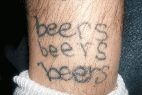 Nice Homemade Tattoo Of Beer Text