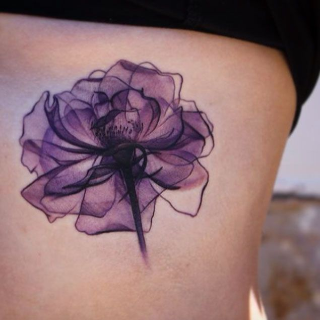 Nice Purple Flower Tattoo Design for Girl Ribs