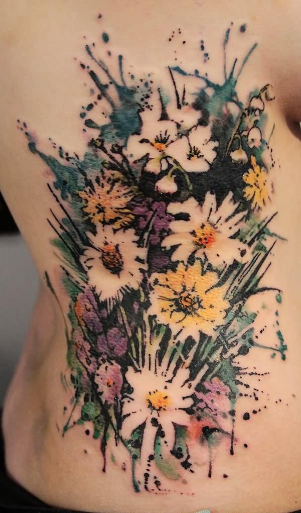 Nice Watercolor Floral Bouquet Tattoo On Girl Ribs