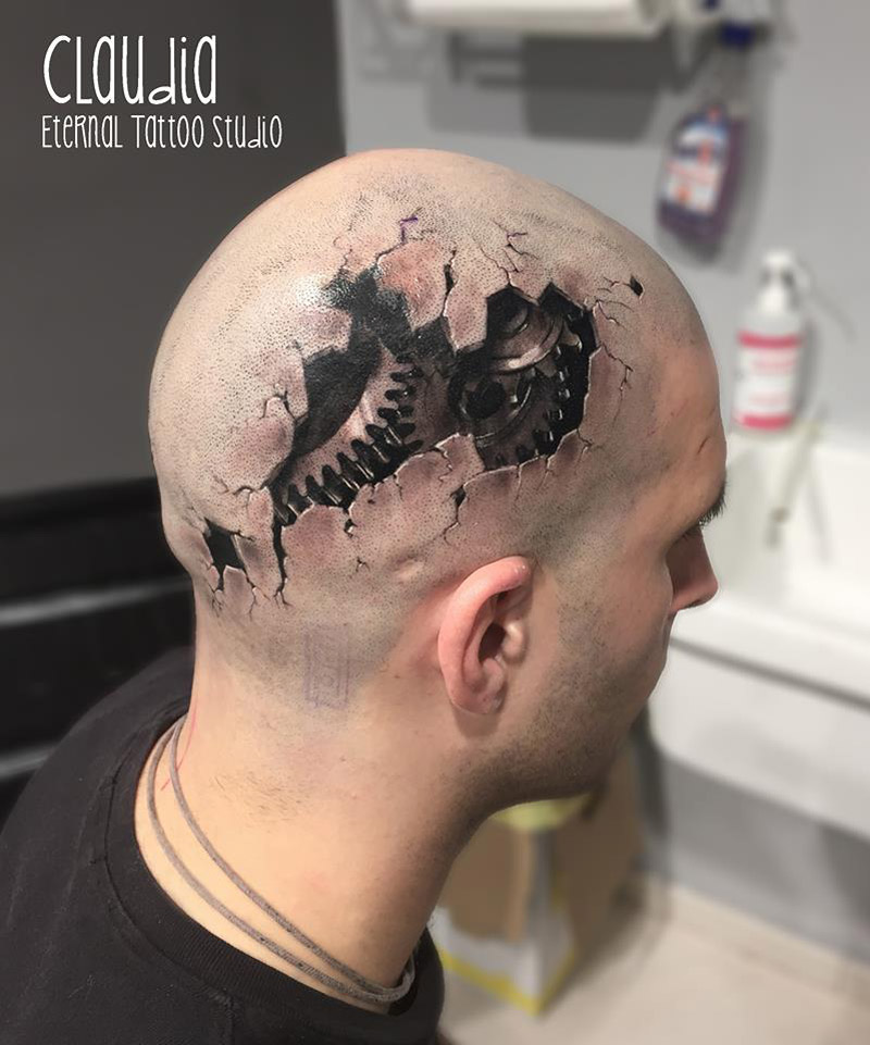 Outstanding 3d Damaged Head Tattoo Design For Men