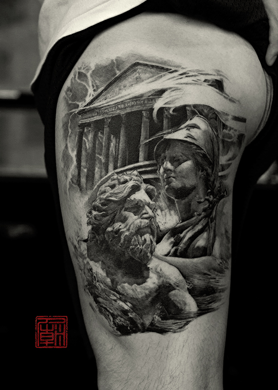 Outstanding Greek House And Men Face Tattoo On Thigh