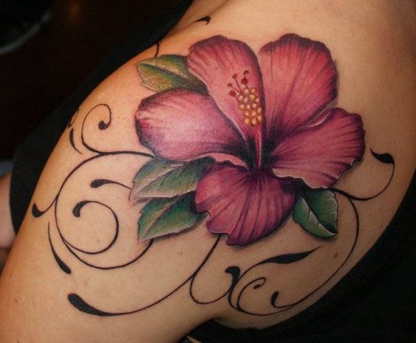 Pink Amazing Hibiscus Tattoo On Girl Shoulder