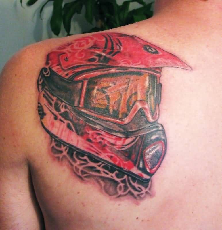 Red Ink Bike Helmet Tattoo On Men Back Body
