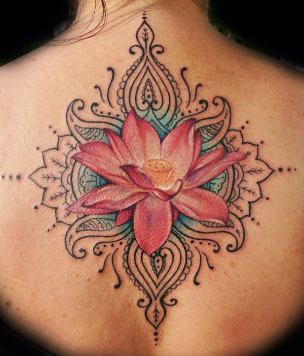 Red Ink Lotus Flower Tattoo On Girl Upper Back