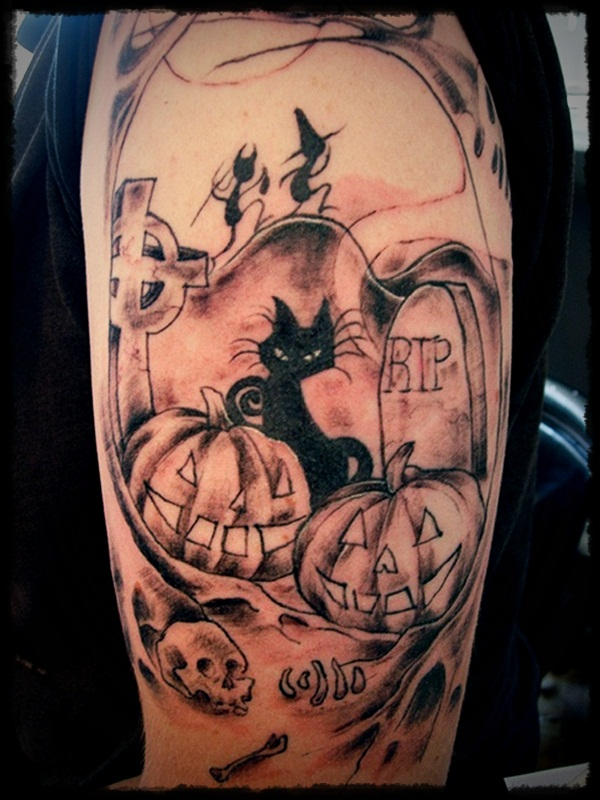 Scary Halloween Pumpkin And Cat Tattoo On Men Shoulder