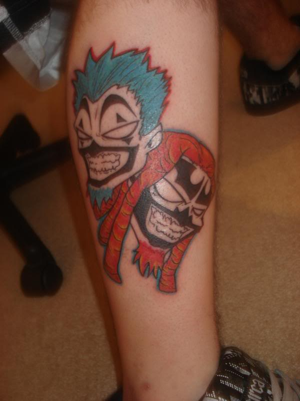 Scary ICP Face Tattoo For Men Side Leg