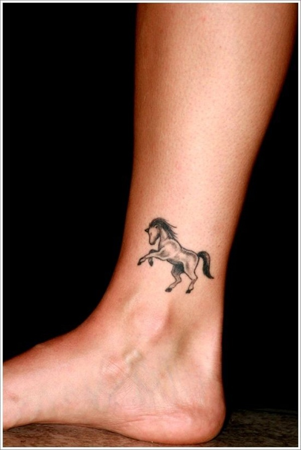 Small Black Ink Horse Tattoo On Ankle On Foot