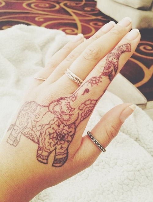 Small Henna Elephant Tattoo Design On Hand