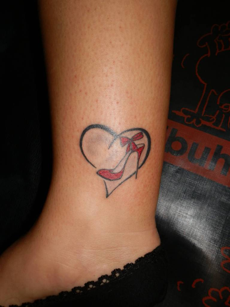 Small Herat And Red Heel Tattoo For Girl