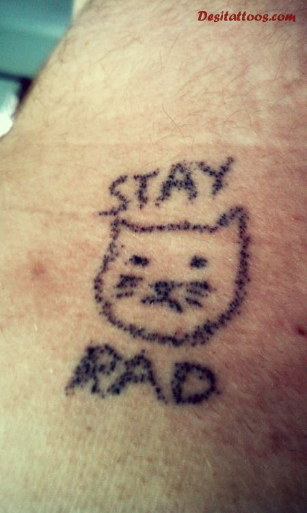 Stay Rad Black Ink Homemade Tattoo For Men