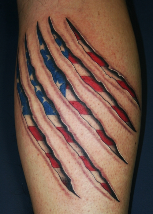 Tiger Claw And American Flag Tattoo On Calf
