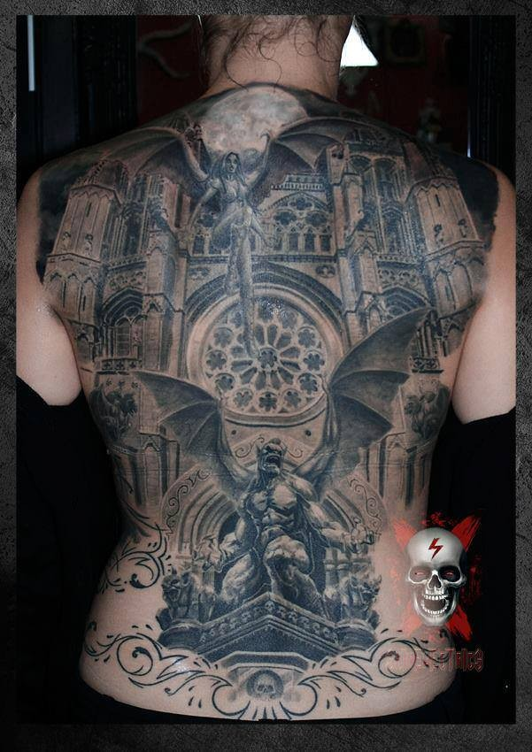 Traditional Building And Gargoyle Tattoo On Men Full Back