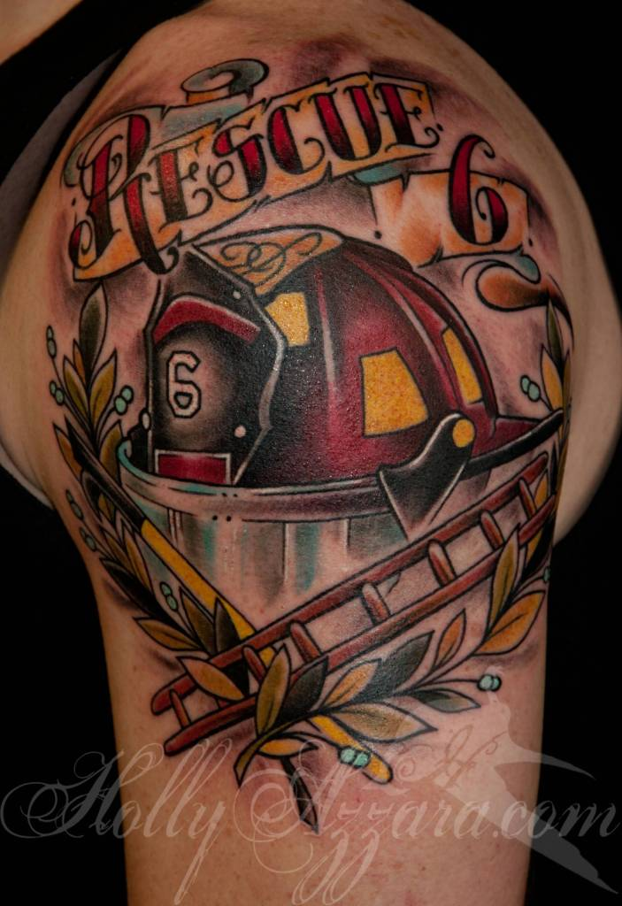Vintage Firefighter Helmet Tattoo On Men Shoulder