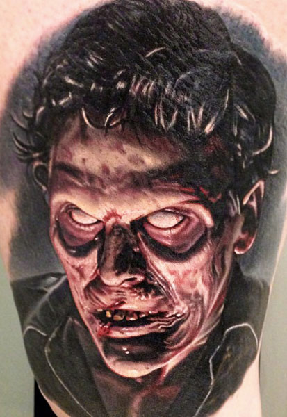 Weird 3d Horror Tattoo Of Evil Face For Men
