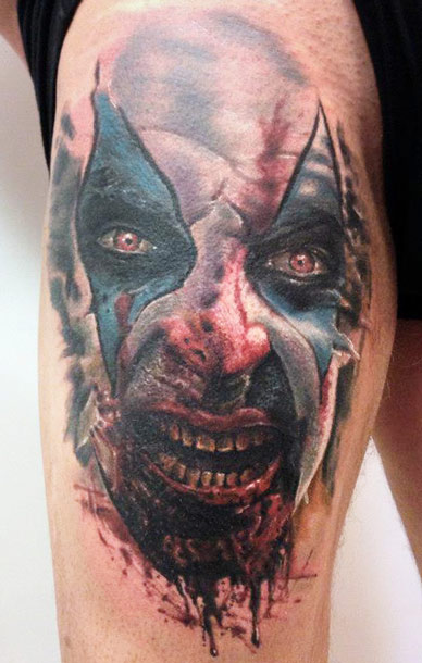 Weird Zombie Face Tattoo On Back Sleeve