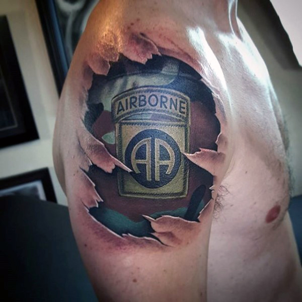 3d army boned tattoo