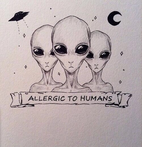 Alien Faces Tattoos With Banner