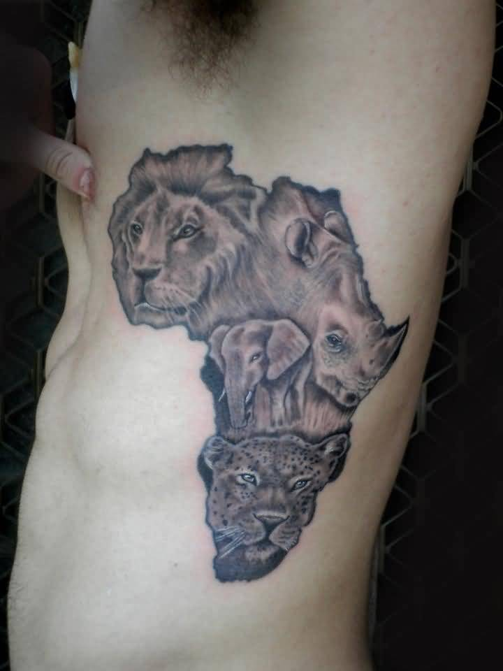 awesome-africa-jungle-map-tattoo-design-with-lion-elephant-rhino-faces