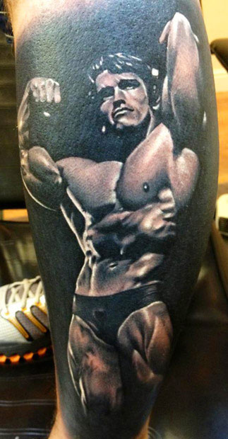 Famous Bodybuilder Arnold Sports Champion Tattoo Of Portrait