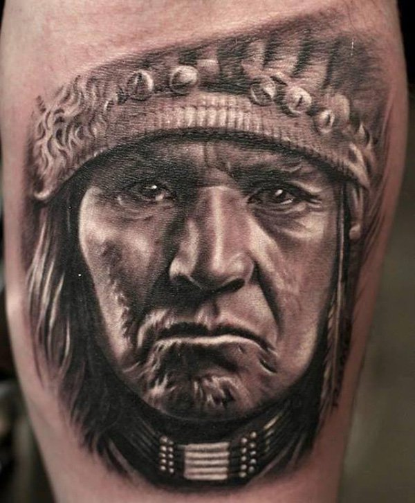Native American Face Tattoo