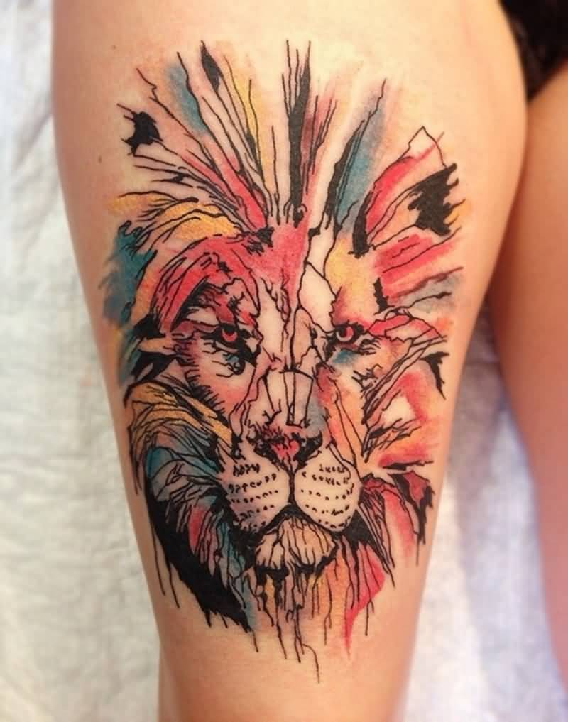 native-colorful-tribal-african-lion-tattoo-designs