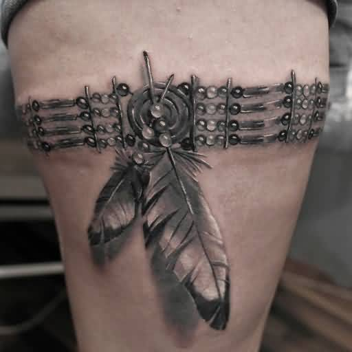 Realistic American Feather Tattoo